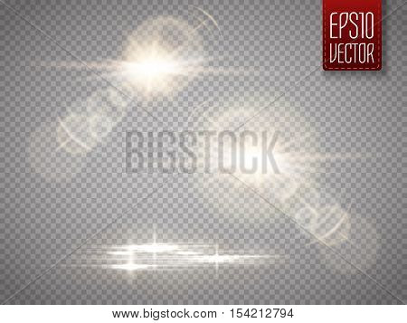Set of vector transparent sunlight special lens flare light effect. Vector illustration