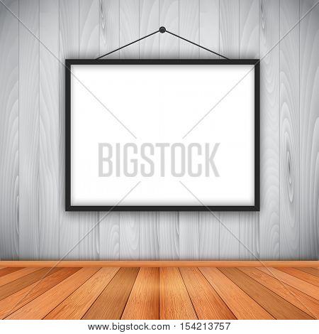Empty room with wooden floor and walls