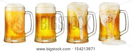 cold mug of beer with foam isolated on white background
