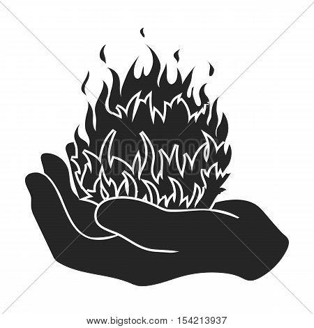 Fire spell icon in black style isolated on white background. Black and white magic symbol vector illustration.
