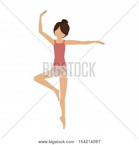 colorful dancer pirouette third position vector illustration
