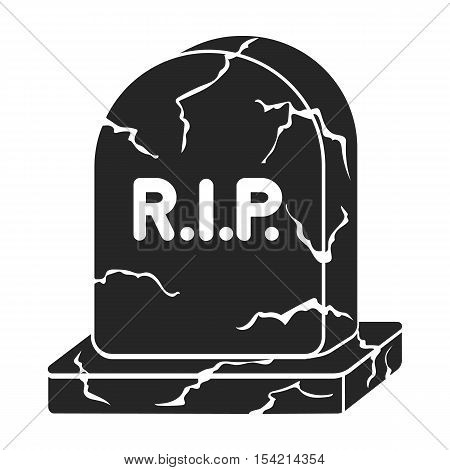 Headstone icon in black style isolated on white background. Black and white magic symbol vector illustration.