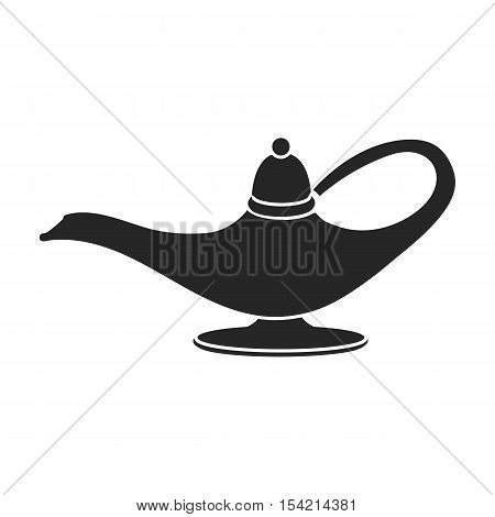 Genie's lamp icon in black style isolated on white background. Black and white magic symbol vector illustration.