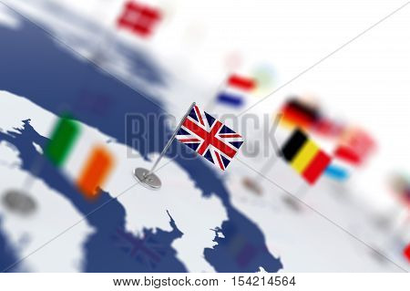 England Flag In The Focus. Europe Map With Countries Flags