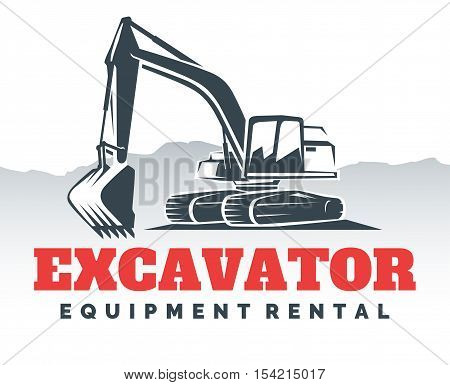 Excavator logo isolated on white background. Vector illustration.