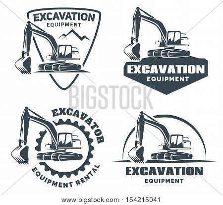 Set of excavator logo emblems and badges isolated on white background. Constructing equipment design elements.