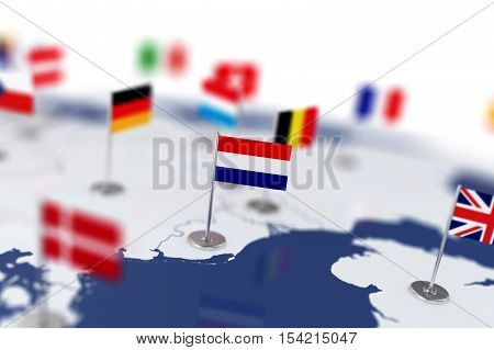 Netherlands Flag In The Focus. Europe Map With Countries Flags