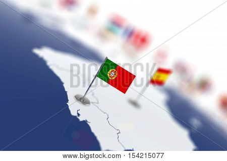 Portugal Flag In The Focus. Europe Map With Countries Flags