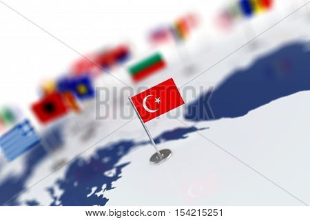 Turkey Flag In The Focus. Europe Map With Countries Flags