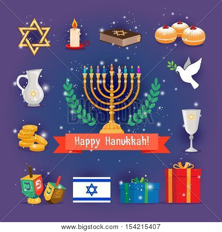 Jewish holidays hanukkah or chanukah icons with menorah candles. Vector illustration