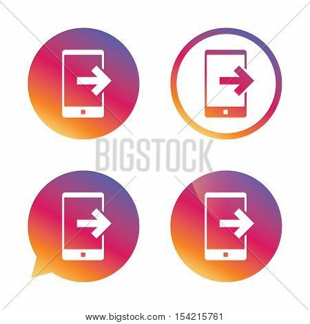 Outcoming call sign icon. Smartphone symbol. Gradient buttons with flat icon. Speech bubble sign. Vector