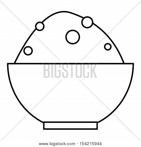 Rice in bowl icon. Outline illustration of rice in bowl vector icon for web