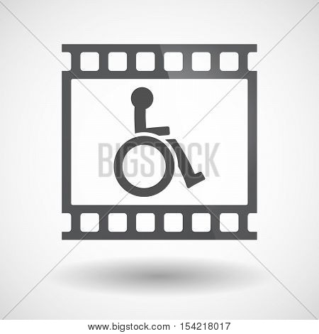 Isolated 35Mm Film Frame Slide Photogram With  A Human Figure In A Wheelchair Icon