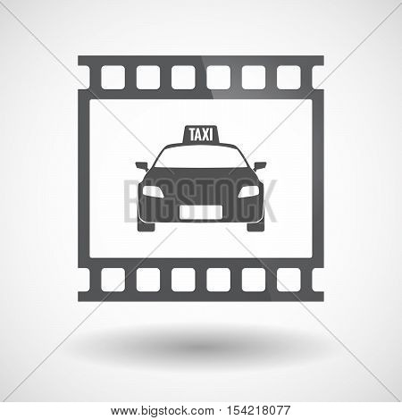 Isolated 35Mm Film Frame Slide Photogram With  A Taxi Icon