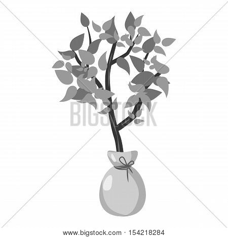 Seedling icon. Gray monochrome illustration of seedling vector icon for web