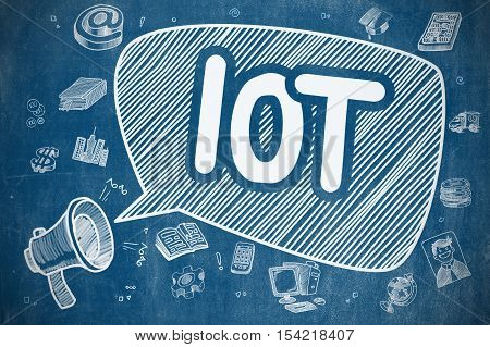 IOT - Internet Of Things on Speech Bubble. Doodle Illustration of Shouting Bullhorn. Advertising Concept. poster