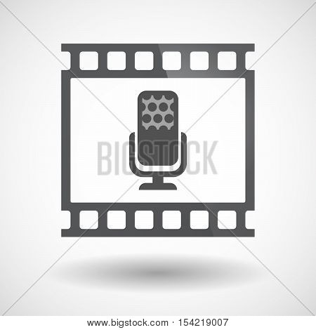Isolated 35Mm Film Frame Slide Photogram With  A Microphone Sign