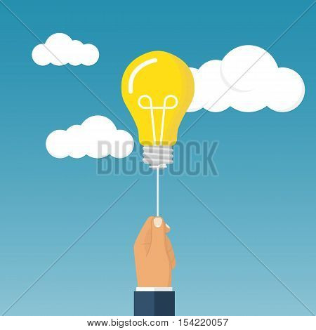 Businessman caught flying idea holding in hand. Idea concept for design. Vector illustration flat style.
