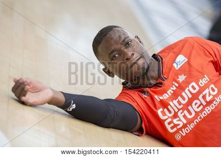VALENCIA, SPAIN - OCTOBER 30th: Romain Sato during spanish league match between Valencia Basket and Morabanc Andorra at Fonteta Stadium on October 30, 2016 in Valencia, Spain
