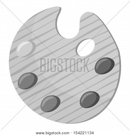 Palette for drawing icon. Gray monochrome illustration of palette for drawing vector icon for web