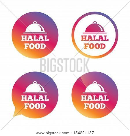 Halal food product sign icon. Natural muslims food symbol. Gradient buttons with flat icon. Speech bubble sign. Vector
