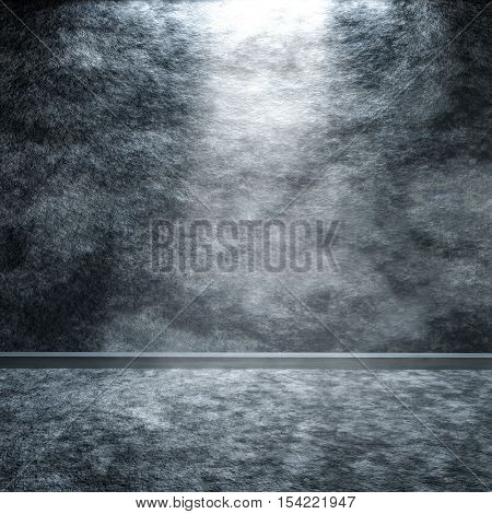 A grey granite floor and wall background with center light 3D rendering.