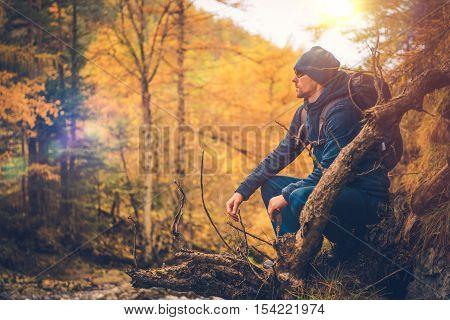 Hiker on the Autumn Foliage Trail. Hiker Enjoying Beautiful Fall Foliage.