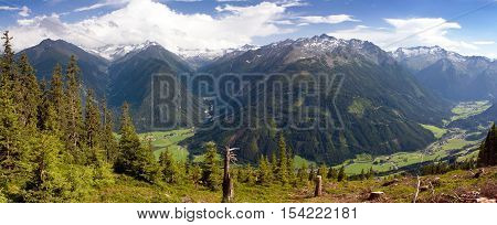 Panoramic view from Kitzbuheler Alpen to Hohe Tauern Austrian Alps