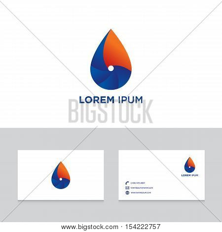 Logo design elements with business card template dewdrop abstract modern symbol vector illustration
