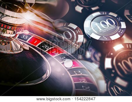 Casino Roulette Game Chips Concept 3D Illustration. Casino Gambling Theme.