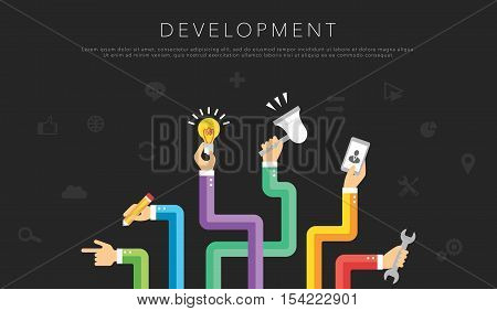 flat development template vector creative background with icons