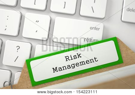 Green Card File with Risk Management Concept on Background of White PC Keypad. Closeup View. Selective Focus. 3D Rendering.