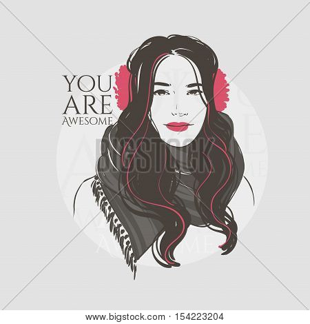 Beautiful Woman With Long Hair In Winter Clothes, Scarf And Winter Headphones, Hand Drawn Line Vecto