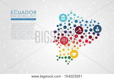 Ecuador dotted vector background conceptual infographic report