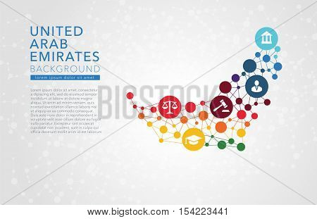 United Arab Emirates dotted vector background conceptual infographic report