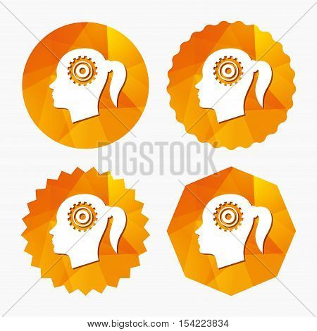 Head with gear sign icon. Female woman human head think symbol. Triangular low poly buttons with flat icon. Vector
