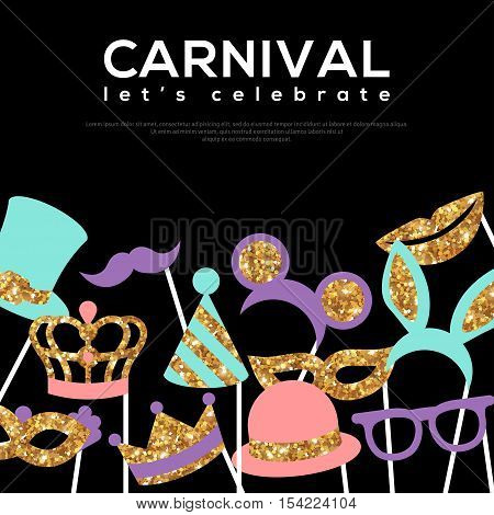 Banner Template with Golden Carnival Masks on Black Background. Glittering Celebration Festive Border. Vector Illustration.
