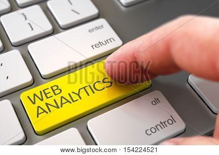 Man Finger Pushing Web Analytics Yellow Keypad on Metallic Keyboard. 3D Illustration.