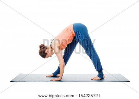 Woman doing Ashtanga Vinyasa Yoga asana Parsvottanasana - intense side stretch pose isolated on white background