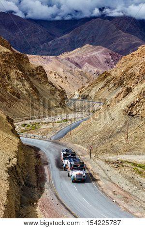 Indian lorry cistern tanker trucks on NH-1 (Srinagar Leh national highway) in Himalayas. Ladakh, India