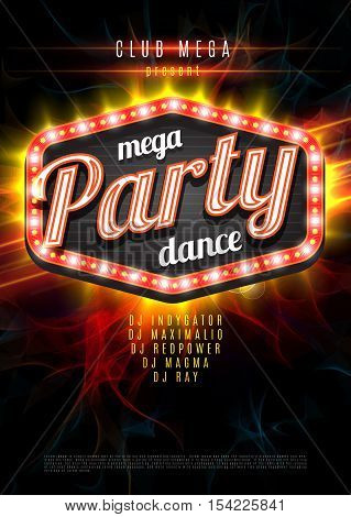 Patry Dance retro display board with lights. Vector Background for flyer or poster.