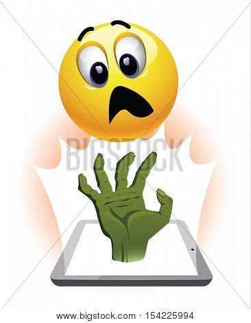 Smiley ball watch horror movie. Zombie hand coming out of tablet in front of stunned and frightened smiley.