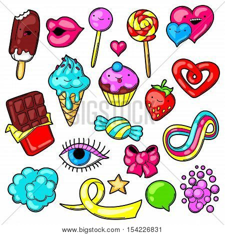 Set of kawaii sweets and candies. Crazy sweet-stuff in cartoon style. poster