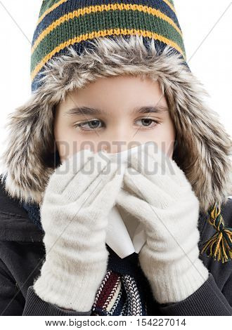 Cute boy wearing beanie looking with space for your text.