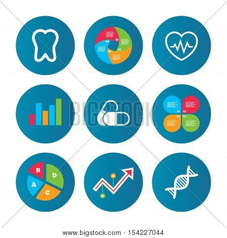 Business pie chart. Growth curve. Presentation buttons. Maternity icons. Pills, tooth, DNA and heart cardiogram signs. Heartbeat symbol. Deoxyribonucleic acid. Dental care. Data analysis. Vector