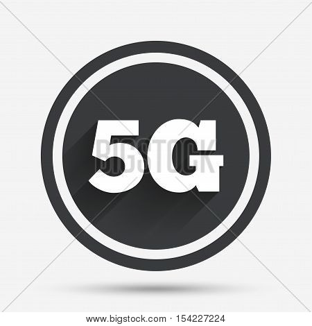 5G sign icon. Mobile telecommunications technology symbol. Circle flat button with shadow and border. Vector