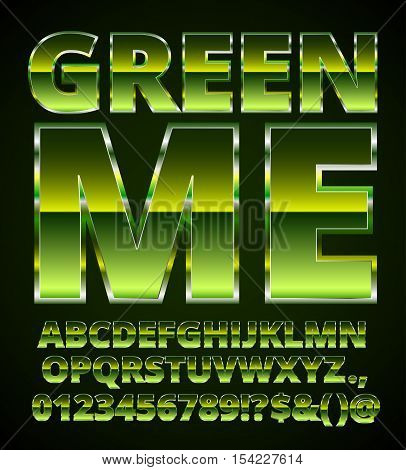 Green Metal Font, set of vector letters and numbers in green colored chrome style