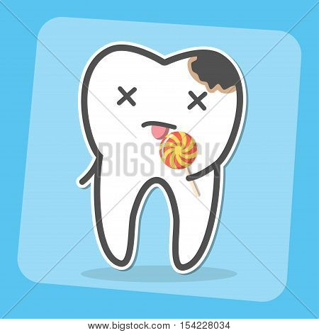 Bad tooth with caries cavity and lollipop. Sweets provoke dental caries concept. Vector illustration