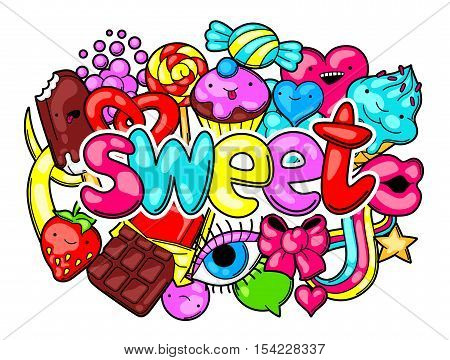 Kawaii print with sweets and candies. Crazy sweet-stuff in cartoon style.