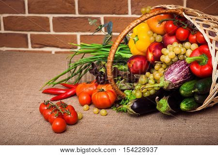 Fruits And Vegetables Arranged In A Group